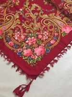 NEW Floral Turkish Russian Fringe Scarf, Shawl, Wrap (US Seller)