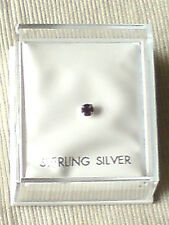 STERLING SILVER BOXED NOSE STUD with 2mm. AMETHYST SWAROVSKI CRYSTAL £2.95 NWT