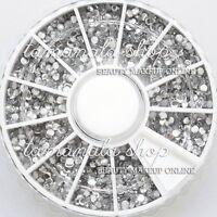 2400 Round Rhinestones Gems Clear Color Nail Art 2mm Wheel for False Tips Decor
