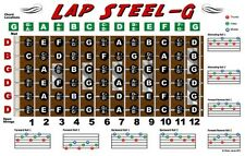 Lap Steel Guitar Fretboard Wall Chart Poster Open G Tuning Notes Rolls Chords
