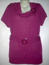 DRAPE NECK BUCKLE WITH CREATIVE BUCKLE BELT SWEATER TOP PLUS 1X 100% POLYSTER