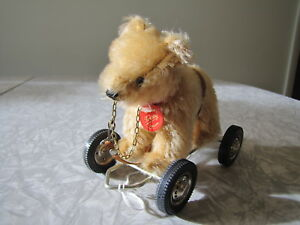 Hermann German Mohair Teddy Bear - Pull Toy  on Wheel