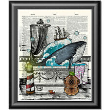 Blue Whale Art Print on Dictionary Book Page Wall Art Bathroom Decor Picture