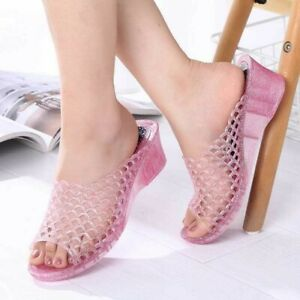 Womens Jelly Mid Heel Clear Sandals Slipper Wedge Summer Fashion Shoes Beach