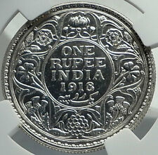 1918 INDIA under BRITISHUK King George V Silver RUPEE Indian Coin NGC  i79717