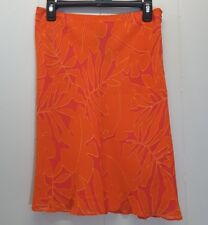 RALPH Ralph Lauren Skirt 8 Orange Red Floral Rayon Plaid Label Straight Pencil