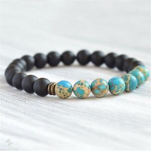 8mm Blue Imperial Jasper Onyx Beads Mala Bracelet Japa Religious Retro