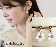 Women's Stud Earrings Cuffs Gold Filled Daisy White Flower CZ Bow UK Seller