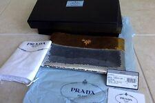 PRADA silver gold Paillettes Clutch sequin