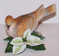 "LOVELY LENOX FINE PORCELAIN TURTLE DOVE WITH FLOWER 3 1/2"" BIRD FIGURINE"