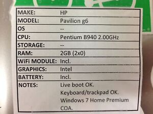 HP Pavilion g6 *Parts/Repair* Pentium/2GB/BATT - No OS/HDD/CHRG