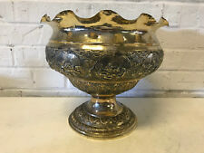 Antique Chinese Export Silver Centerpiece Bowl w/ Repousse Animals Decoration