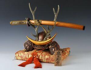 Nice Vintage Samurai Helmet -Shikanosuke kabuto with a replica Katana- Tsushima