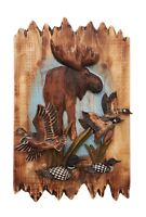 Wildlife Moose With Ducks, And Loons Wood Carving Wall Art Cabin Rustic Decor