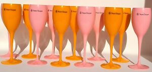 6 EACH VEUVE CLICQUOT YELLOW AND PINK ROSE ACRYLIC CHAMPAGNE FLUTES 12 TOTAL NEW