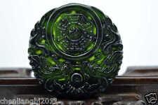 100% China's natural  jade nephrite carving black jade pendant Double Dragon