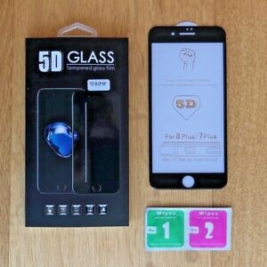 iPhone 8 Screen Protector 5D Glass Full Cover Tempered, Ultra HD 3D NEW!!