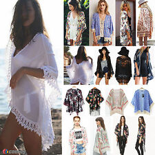Women's Summer Floral Shawl Kimono Cardigan Boho Chiffon Coat Tops Jacket Blouse