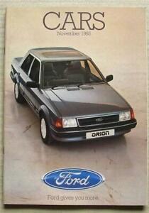 FORD CAR RANGE Sales Brochure Nov 1983 #FA221/94 Fiesta ESCORT Capri ORION +
