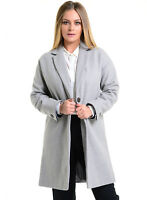 Womens Coat Grey Relaxed Fit Long Mid Length Jacket Wool High St Size 8 10 12 14