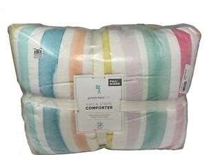 New Pottery Barn Kids Kayla Rainbow Stripe Full/Queen Comforter