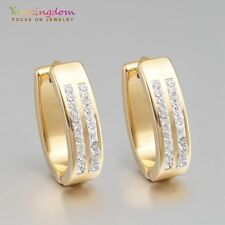Noble Clear Round Cubic Zircon Inlay Gold Plated Lady Ear Jewelry Hoop Earrings