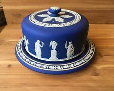 Antique Wedgwood Dark Blue / Cobalt Jasperware Cheese Dome / Covered Cake Dish