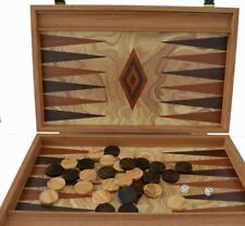 Manopoulos Olive Wood Backgammon Set - Olive Wood Chips - Hand Made