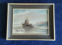 Vintage Oil Painting Seascape Ships moored of the coast. Signed & Framed