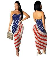 Woman Off Shoulder Midi dress Stars Stripes USA Flag Printed Fold Bodycon dress