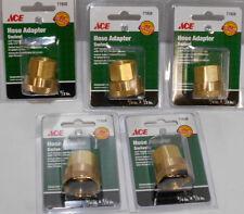 """5 Lot  3/4"""" F GHT x 1/2"""" NPT F Swivel Brass Garden Hose Lawn Adapter Fitting"""