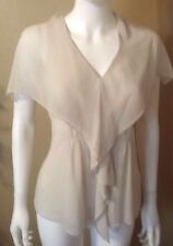 """CAbi #814 """"Whisper"""" Ruffled Sheer Blouse - Ivory - Extra Small - Excellent Cond"""