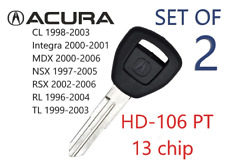2 NEW Acura Transponder Chip Key HD106-PT 35113-SY8-A03 USA Seller Top Qyality