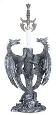 14 Inch Tall Dual Silver Dragons With Sword Figurine