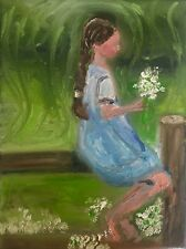 Original oil painting lyrical impression of little girl