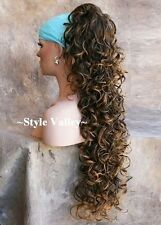 BROWN MIX Ponytail Hairpiece LONG Claw Clip in/on Curly Extension Hair Piece