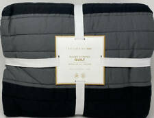 Pottery Barn Teen Rugby Stripe TWIN Quilt ~ Gray / Black