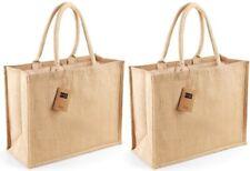2 x Westford Mill Large Classic Jute Shopper Bag 21L Natural 42 x 33 x 19 cm