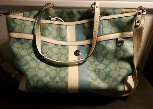 Huge Coach Weekender / Travel / Beach Bag  Blue / Seafoam Green