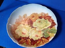 """Antique Hand Painted Bavarian (?) 10 1/8"""" Plate * Yellow & Orange Roses, Vgc!"""