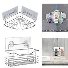 Kitchen Bathroom Storage Rack Wall Mounted Shower Shelf Basket Stainless Steel