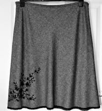 NEW 100% WOOL KATE COOPER GREY MARL SMART SKIRT WITH SEQUINS SIZE 18  # 836