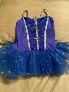 A Wish Come True dance costume: Blue with silver stars little girl costume.