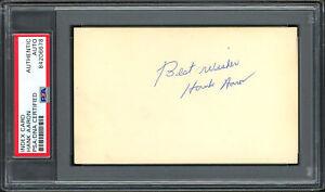 "Hank Aaron Autographed 3x5 Index Card ""Best Wishes"" Rookie Sig PSA/DNA 84206678"