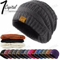 Women's Men Knit Slouchy Baggy Beanie Oversize Winter Hat Ski Fleece Slouchy Cap