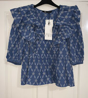 ZARA SS20 BLUE CUTWORK EMBROIDERED PUFF SLEEVES BLOUSE V-NECK SIZE M BNWT