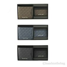 Michael Kors Signature Leather Billfold Wallet & Card Case Set Gift Box