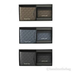 Michael Kors Signature Leather Billfold Wallet & Card Case Set Gift Box