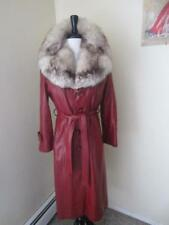 Vintage 70's Rusty Red Leather Jacket Coat HUGE Deco Fox Fur Collar Mod Trench M