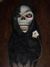 3' HALLOWEEN LIGHTED TALKING HANGING REAPER SKULL FACE EYE DECORATION HOUSE PROP